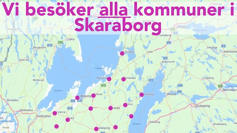 Karta över Skaraborg