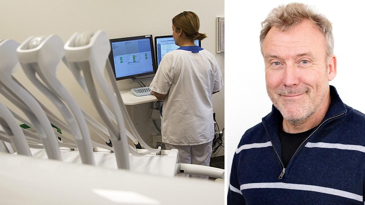 En tandläkare arbetar vid sin dator på en tandläkarklinik.