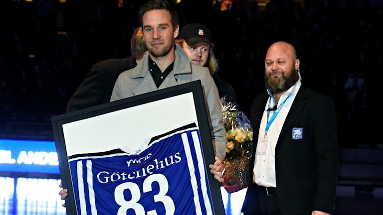 Daniel Andersson hyllades av Villa Lidköping efter sina 13 säsonger i klubben. Foto: Villa Lidköping