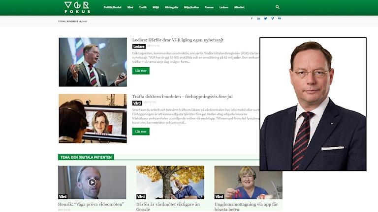 En bild av VGR:s nyhetssajt och en infälld porträttbild på kommunikationsdirektör Erik Lagersten.