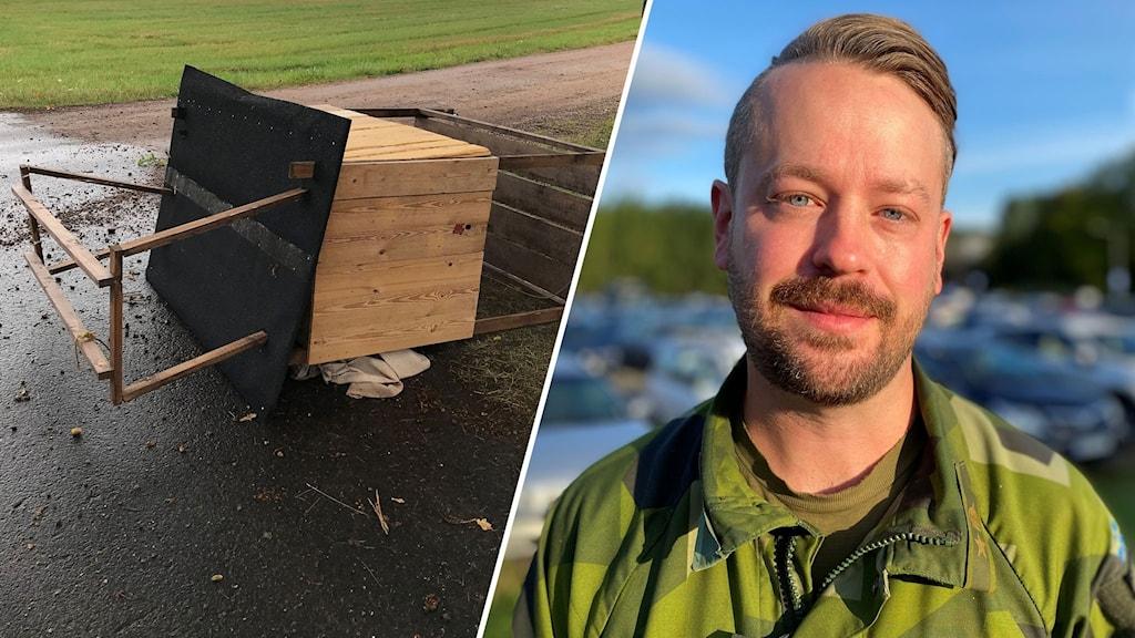 Montage med en vält träkiosk och Anders Beckman, Ulvåker.
