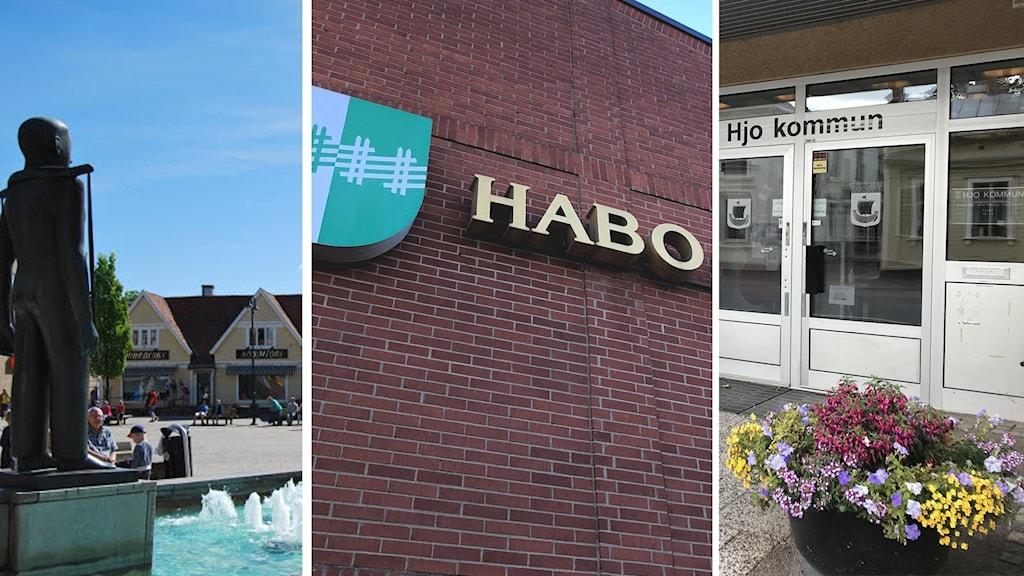 Tre kommuner porträtteras med bilder på torg och kommunhusens fasader.