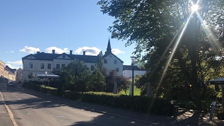 Vy över gata och park i Hjo. Träd i förgrunden och ett hus längre bort.