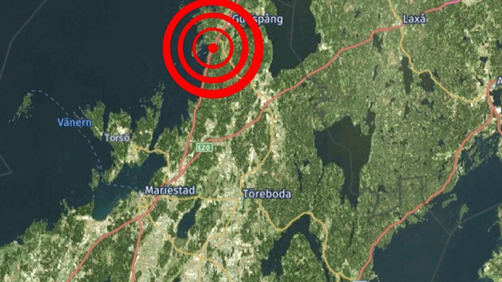 Karta över jordskalvsområdet