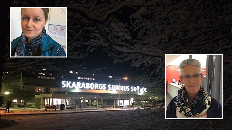 Skaraborgs sjukhus i barkgrunden. Porträttbilder av Lene Lorentzen och Marga Brisman infällda.