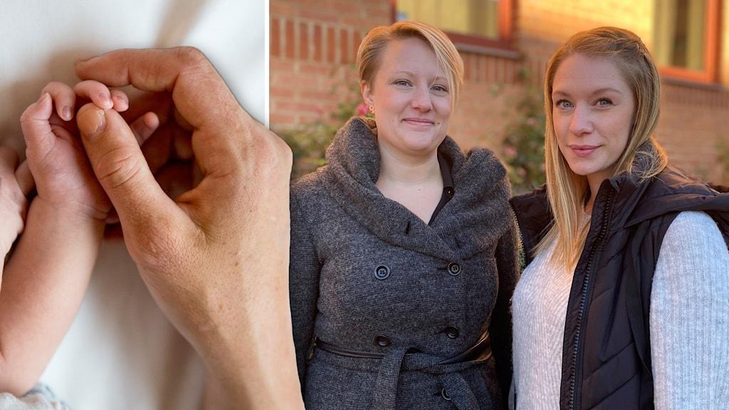 En genrebild på en bebis hand som håller i en vuxen persons hand och en bild på Emelie Sörensen och Frida Moqvist.