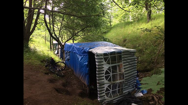 Tältlägret vid Vadsboleden i Skövde där cirka 12 EU-migranter bor