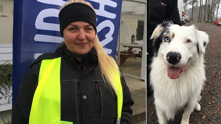 Tävlingsvärd Ronja Svensson och en av hundarna på bild.