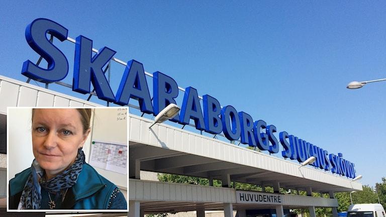Infälld porträttbild Lene Lorentzen. I bakgrunden Skaraborgs sjukhus i stora blåa bokstäver ovanför entrén till sjukhuset.
