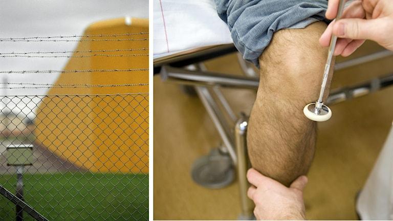En man får knät undersökt av läkare.