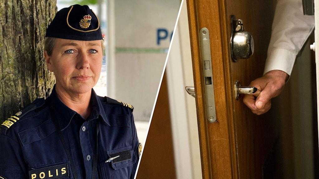 Montage med en polis och en äldre person som öppnar sin ytterdörr till en lägenhet.