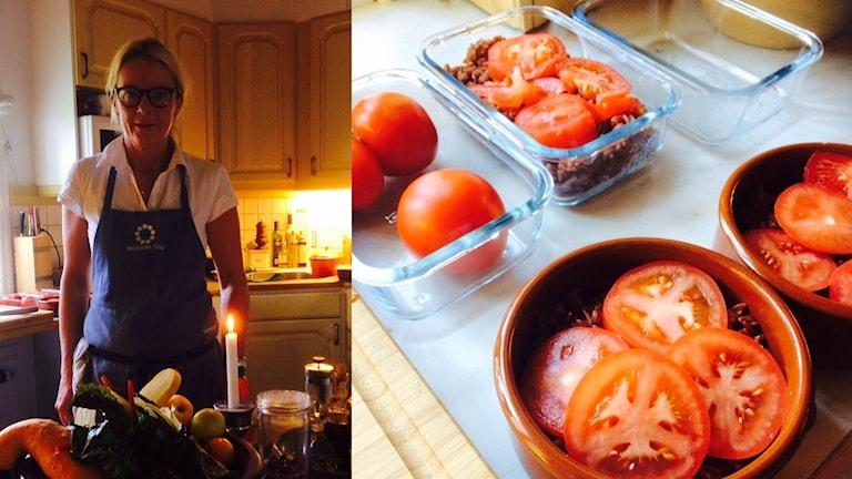 Lena Svedung lagar lunchlådor, köttfärs och tomat.