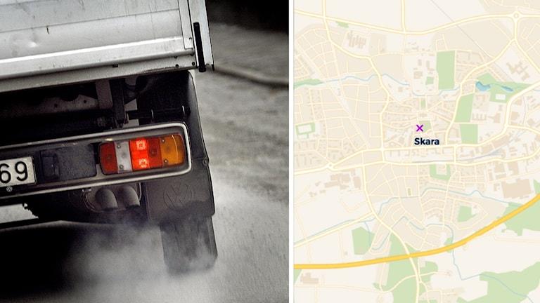 Lastbil och karta
