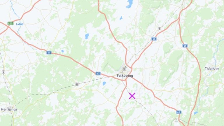 Karta där olyckan inträffade.