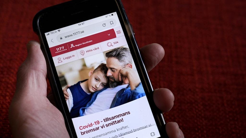 En hand som håller i en mobiltelefon med sajten 1177.se öppen.
