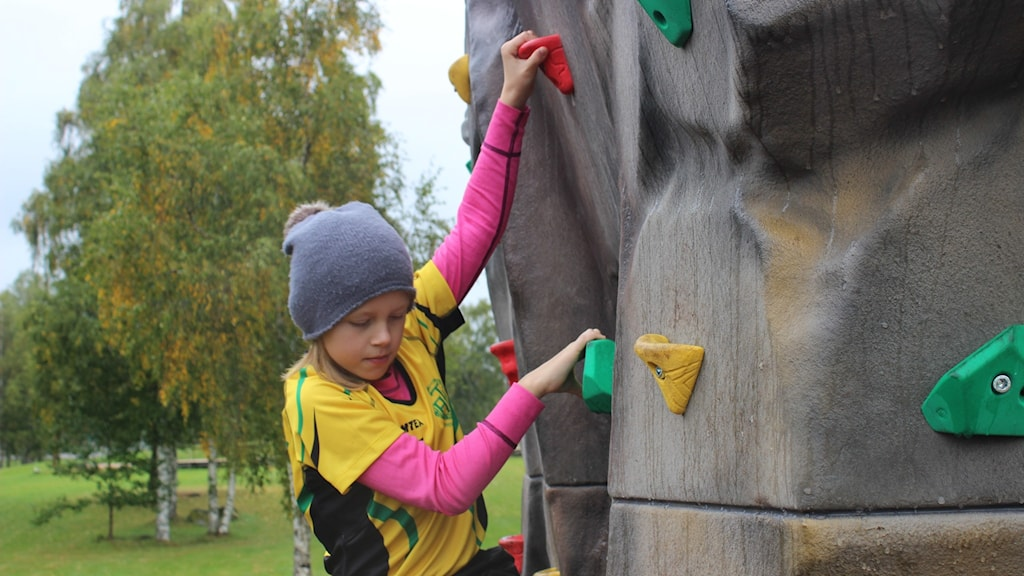 Brita Carlehed klättrar.