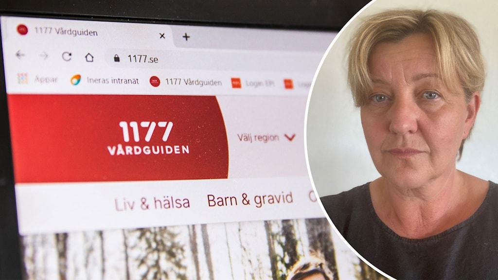 Montage med 1177s startsida och Jill Johansson, verksamhetschef Västra götaland.
