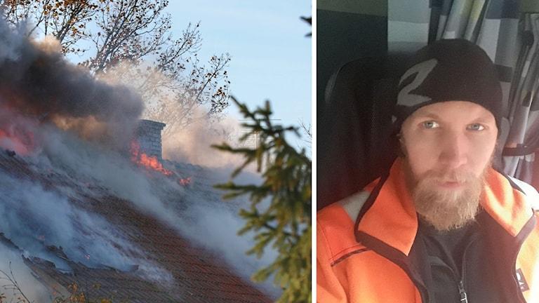 Viktor Pontén räddade en kvinna ur ett brinnande hus i Friel söder om Lidköping.