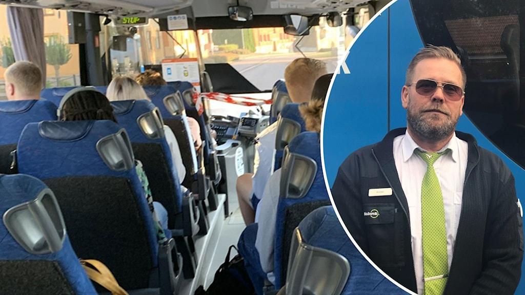 Bussresenärer i Skaraborg samt Krister Hamberg, bussförare.