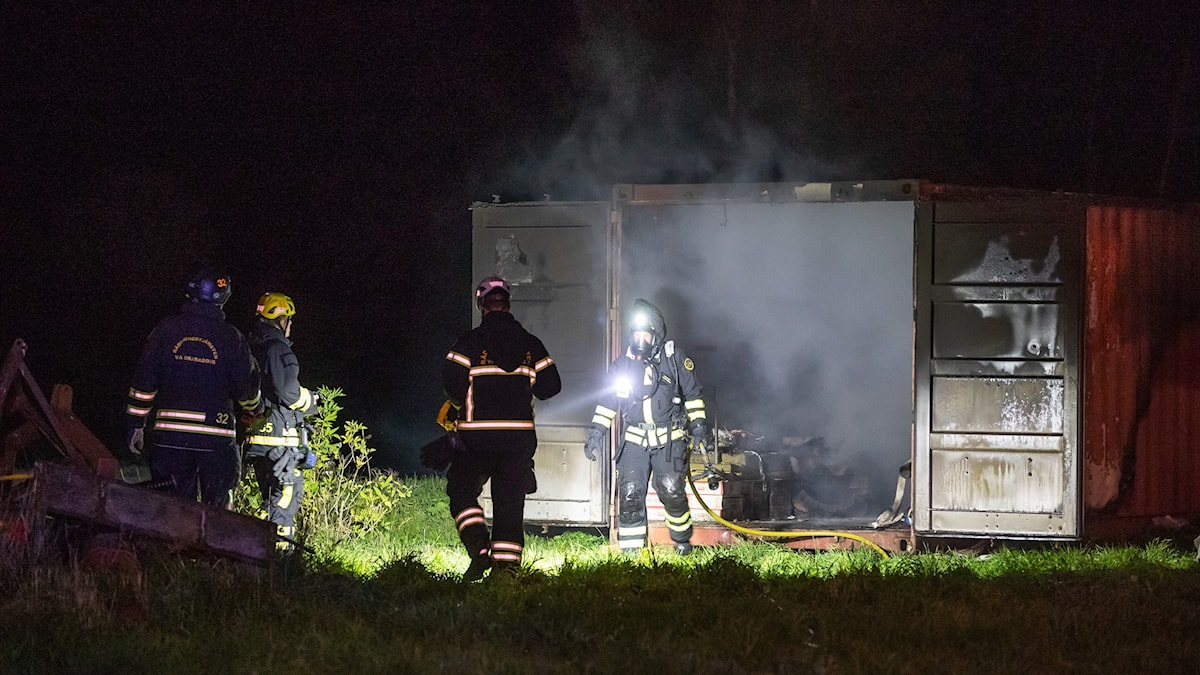 Brand i en container