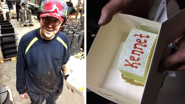 """Kennet Roslund och hans tårta med ordet """"Kennet"""" på."""