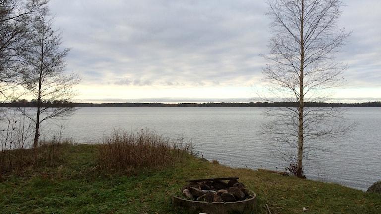 Grillplats på en grässtrand framför en spegelblank sjö och fluffiga moln.