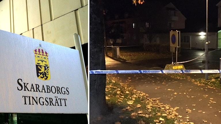 Skaraborgs tingsrätt och platsen där knivdådet skedde
