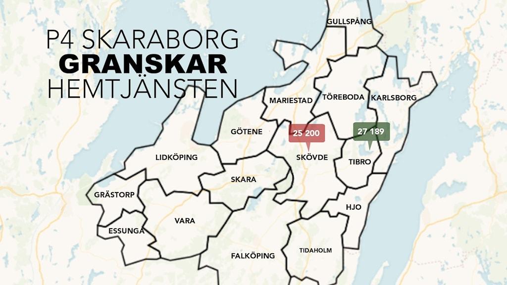 En karta över Skaraborg där det står P4 Skaraborg granskar hemtjänsten