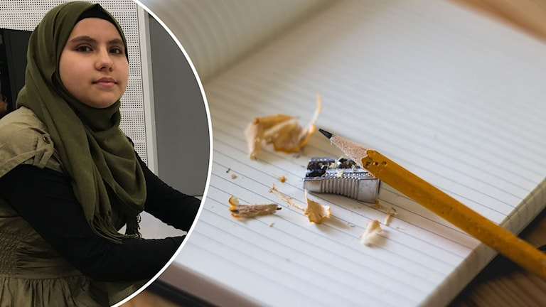 Montage med bild på en tjej i slöja och en skrivbok med en blyertspenna.