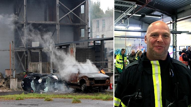 Två ihopklippta bilder. En på en brinnande bil och en på en man från Räddningstjänsten.