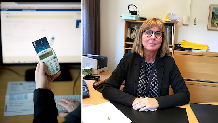 En bankdosa till vänster och en kvinna som sitter vid ett skrivbord till höger