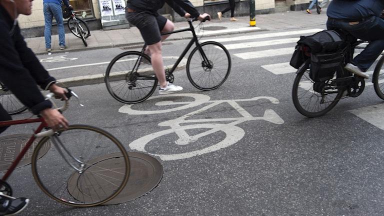 Cyklister kör på en cykelbana.