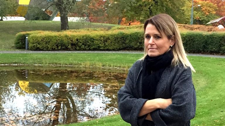 Viveka Karlberg utanför Skarabors sjukhus.