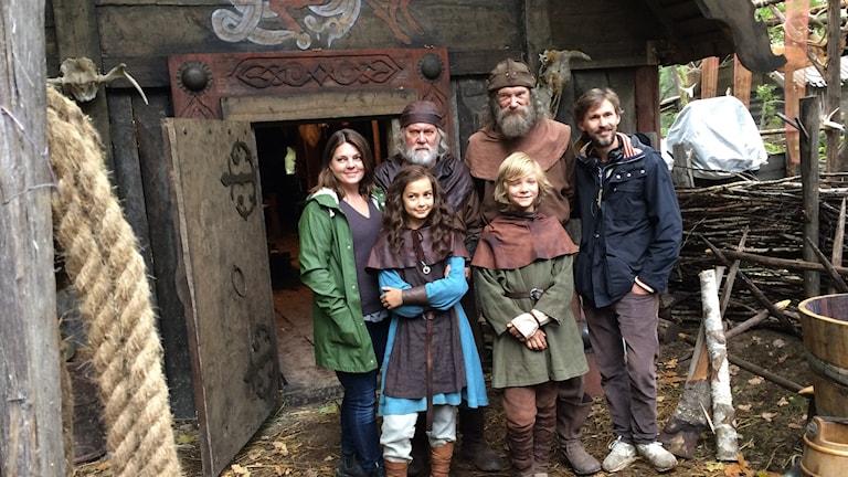 """Bild från inspelningen av filmen """"Halvdan Viking""""."""