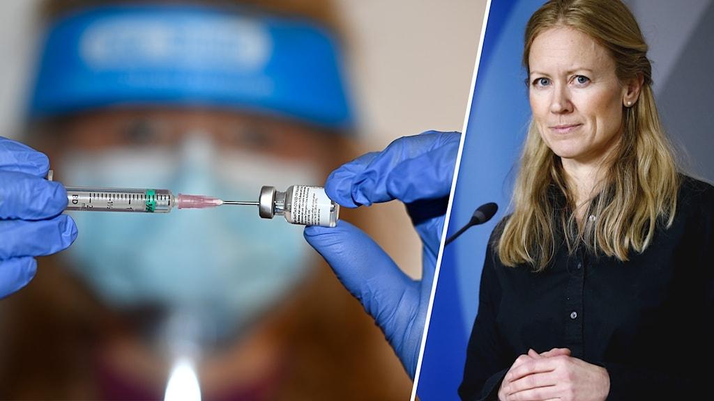 Tvådelad bild: En vaccinspruta förbereds och Kristine Rygge, vaccinsamordnare i Västra Götalandsregionen.
