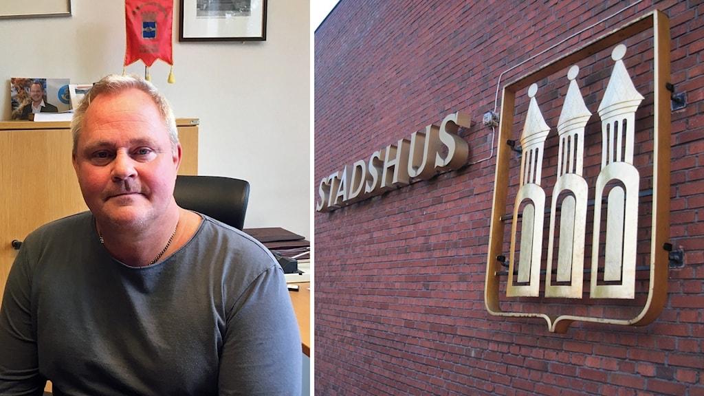 Porträttbild av Dan Gabrielsson, bredvid bild på en tegelvägg med ordet stadshus på.
