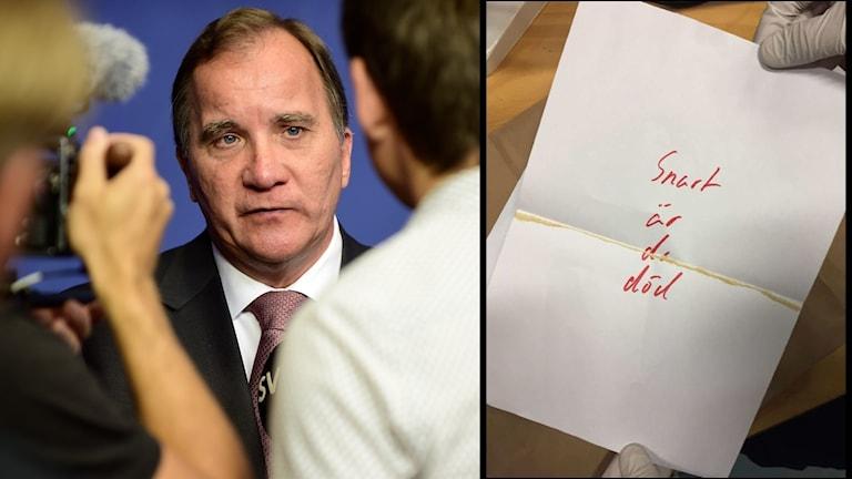 Statsminister Stefan Löfven (S) och hotbrevet med pulver.
