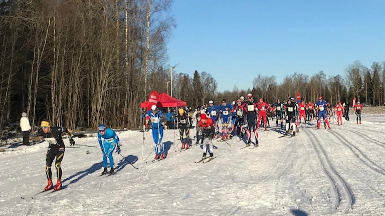 Skidåkare i starten av Stråkenloppet i Mullsjö 2019