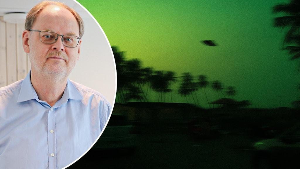 Tvådelad bild: En man fotograferad inomhus och en bild på ett UFO i natten.