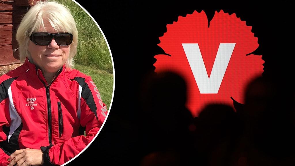 Montage med en kvinna i solglasögon och Vänsterpartiets partisymbol.