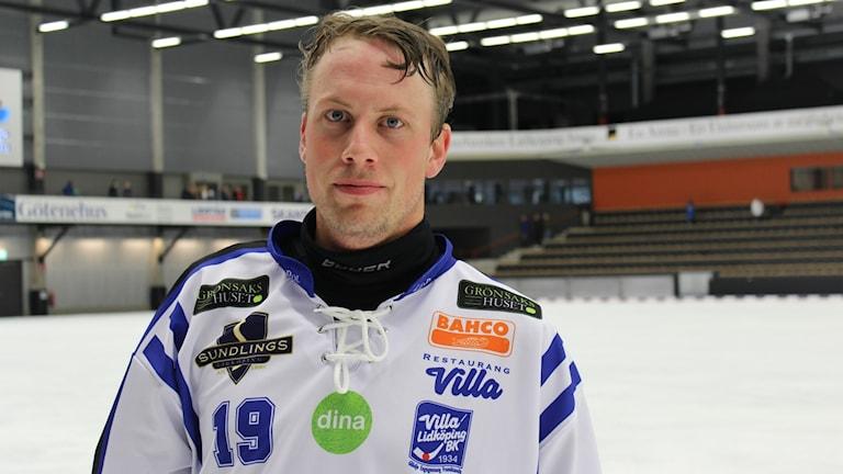 Villas Christoffer Norin visade vägen mot seger med två mål mot Vänersborg. Fotograf: Tommy Järlström/Sveriges Radio.