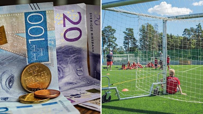 Montage med pengar och barn som spelar fotboll.