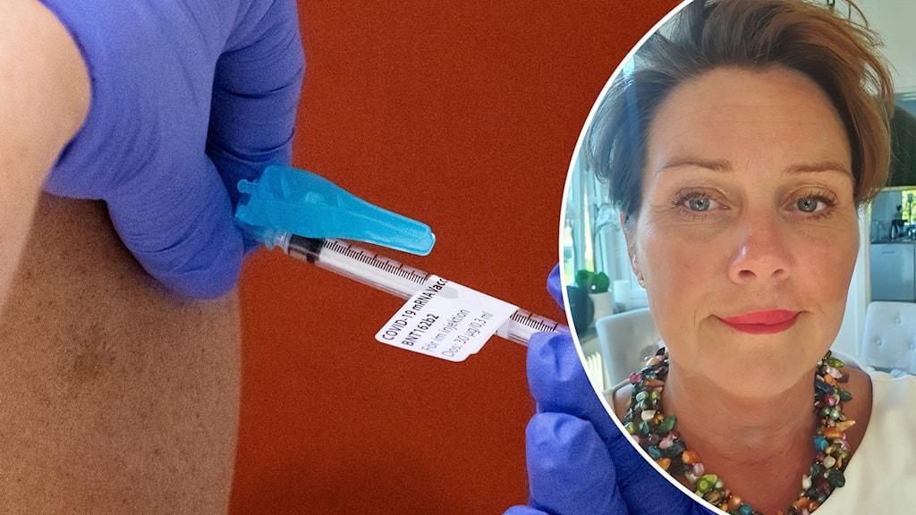 En injektion av covid-19-vaccin, Malin Wihlborg vår- och omsorgschef i Mariestads kommun.