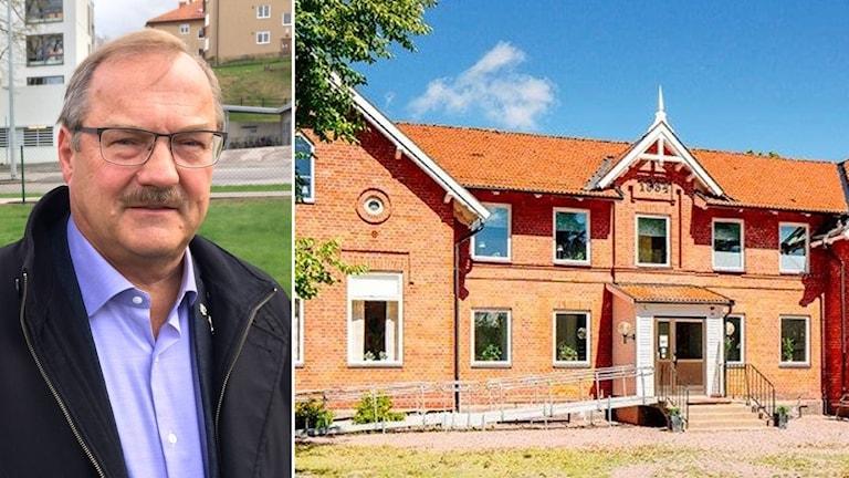 Till vänster en bild på Orvar Eriksson, en man i glasögon, och till höger en bild på Varola skola, en röd gammal tegelbyggnad.