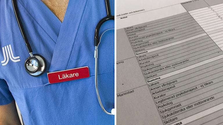 Närbild på en skylt där det står läkare, bredvid hänger ett stetoskop. Bilden bredvid ett dokument med text och siffror.