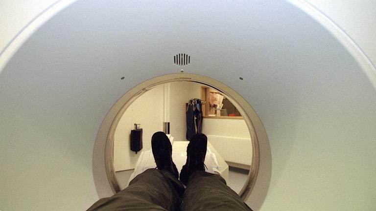 Sjukvård. Röntgenavdelningen på Södersjukhuset i Stockholm. Datortomografi. Foto: Erik G Svensson