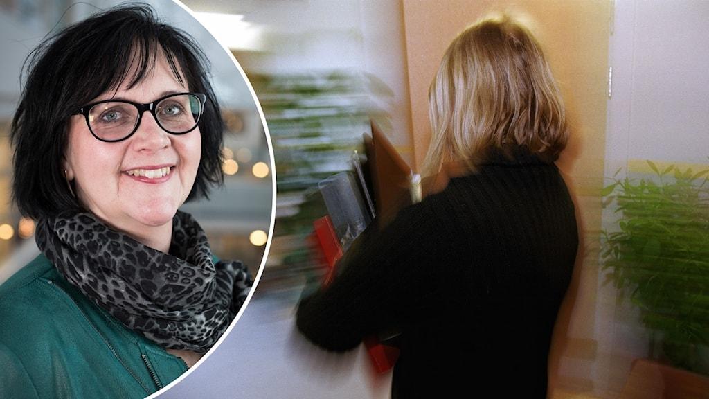 Tvådelad bild: Ulrica Johansson, centerpartistiskt kommunalråd i Skövde och en genrebild på en lärare.
