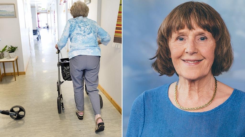 En pensionär på ett äldreboende går med rollator i korridoren.