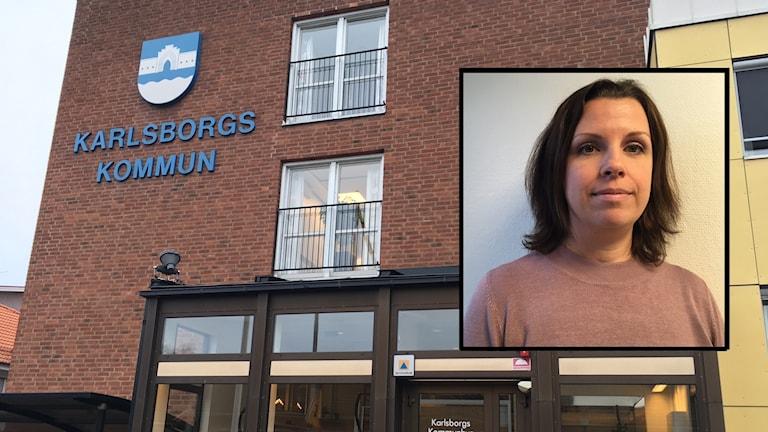 Kommunhuset i Karlsborg. Infälld bild, Sandra Peters, socialchef.