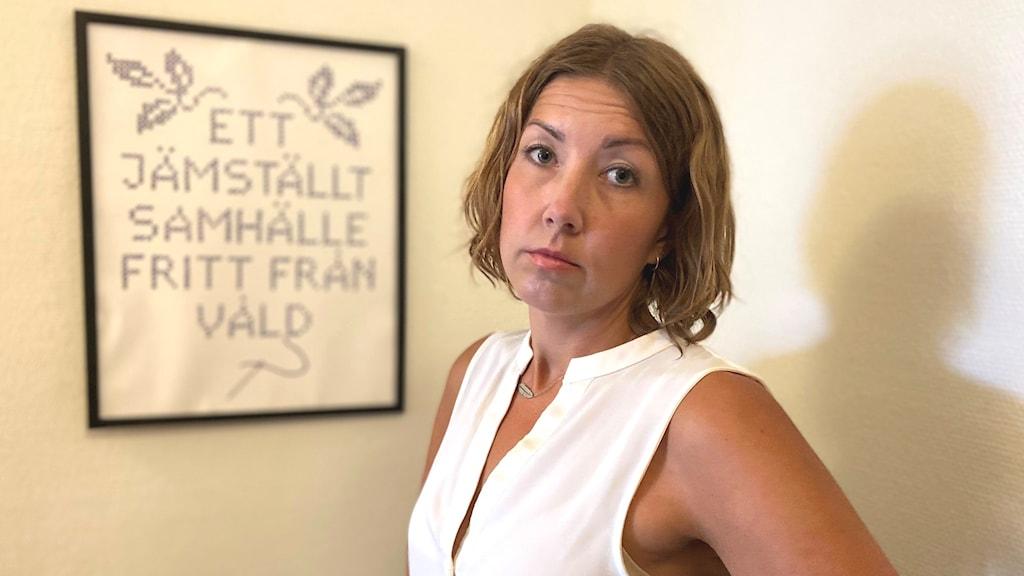Leona Larsson, verksamhetschef på kvinnohuset Tranan i Skövde.